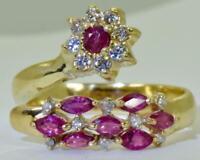 Amazing  vintage estate 14k gold,Diamonds&natural Rubies ladies ring.Size 6.5