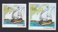 USA - CANADA =2006 Joint Issue = 400th Settlement = Champlain Ship #4073,2155