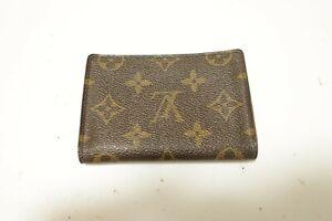Authentic LOUIS VUITTON Monogram Brown Leather pass card case  #9601