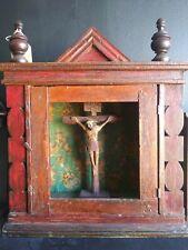 Antique Christ Crucifix Shrine From Guatemala- Wooden Handmade