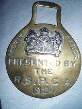 VINTAGE  R.S.P.C.A. 1924 SOLID BRASS HORSE BRASS..
