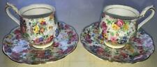 (2) Royal Albert Demitasse Cups & Saucers-Chintz Pattern