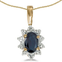 "10k Yellow Gold Oval Sapphire And Diamond Pendant with 18"" Chain"
