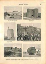 Aigues-Mortes Gard Canal de Beaucaire du Rhône à Sète FRANCE GRAVURE 1896