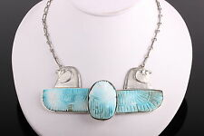 EGYPTIAN 800 SILVER CARVED STONE NECKLACE HAWKS WINGED SCARAB SIGNED  2107