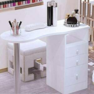 Manicure Table Nail Station Art Beauty Salon Desk With 3 Storage Drawers