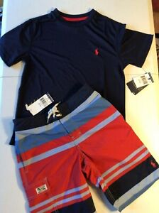Polo Ralph Lauren Boy's Small 8 Swim Trunks & Performance T-Shirt Navy Striped