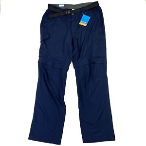 NWT Columbia Men's Silver Ridge Convertible Navy Blue Nylon Belted Pants 36x32
