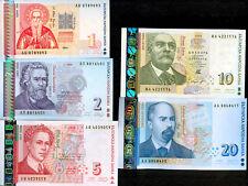BULGARIA 1 2 5 10 20 Leva  ISSUE 1999 - UNC - RARE SET