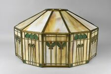 Antique Handel Arts & Crafts Slag Glass Panel Table Lamp Shade Signed