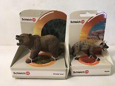 Schleich Figure Lot Grizzy Bear 14685 Hyena 14735 New