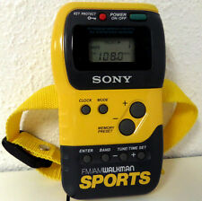 Sony Sports Walkman Yellow FM/AM Radio Stopwatch SRF-M70 Tested/Works Arm Band