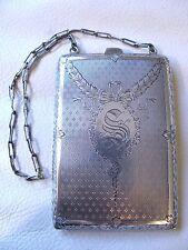 Antique Art Nouveau STERLING Silver Card Case Coin Holder Purse Compact 1915