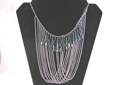 Ladies Vintage Style Multi Strand Chain and Beads Black Necklace