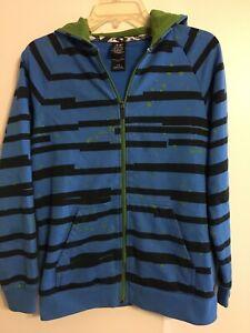 Shawn White Boys Hoodie Sweatshirt Size L Blue Black Graphic Stripe