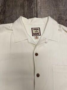 Vintage Tommy Bahama long-sleeve Camp Collar cream Shirt Medium 100% Silk