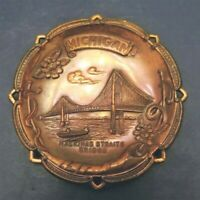 Vintage Michigan Mackinac Straits Bridge Copper Souvenir Dish