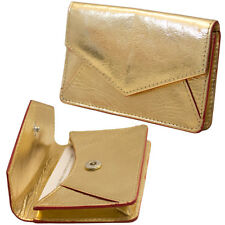 ILI Leather Envelope Business Card or Credit Card Case Holder Metallic Gold  New