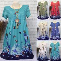 Women Summer Short Sleeve Vintage Dress Plus Size Boho Floral Dresses Long Tops