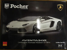 Pocher White Lamborghini Aventador LP700-4 1/8 Die-Cast Model Car Kit HK104