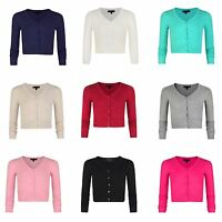 5ad0f6f76a258 Girls Fine Knit Cropped V-neck Cardigan Kids Long Sleeve Sweater Top 3-14