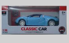 Bugatti Veyron Sports Car Light and Music Blue, Diecast Car Model Toys  1:36