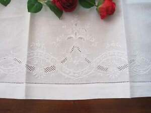 Vintage Style Hand Flower Embroidery Hemstitch Cotton Linen Curtain Topper D