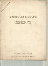PEUGEOT 204 CABRIOLET COUPE  - 1966 / DESCRIPTIF CARACTERISTIQUES TECHNIQUES
