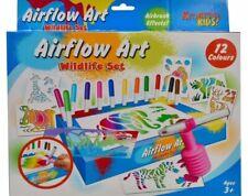 Airflow Blow Pens Childrens Kids Art Colour Felt Tip Set Animal Stencil SAME DAY