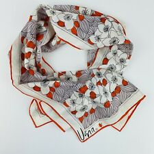 Vintage Vera Scarf Vibrant Retro Bright Floral Lady Bugs Orange Grey Acetate