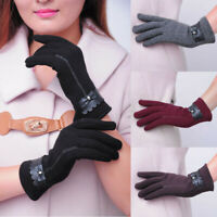 Fashion Soft Women Touch Screen Gloves Ladies Bowknot Winter Warm Gloves Mittens