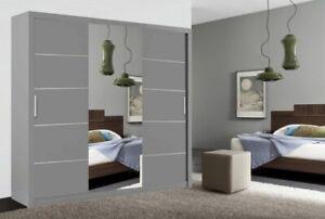 Oslo Modern Grey Mirror sliding door wardrobe with LED