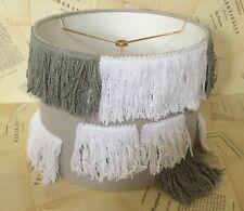 "NEW Anthropologie 2 Tone Gray White Hanging Aysmetrical Fringe Lamp Shade 12"" M"