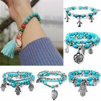 Women Multilayer Shell Turquoise Bangle Beaded Tassel Bracelet Holiday Jewelry