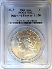 1923 Silver Peace Dollar PCGS MS 62 Obverse Defective Planchet Mint Error Coin
