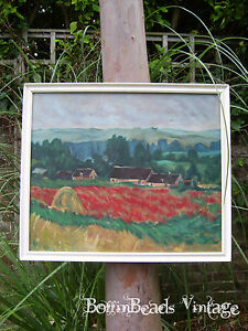 Poppy fields at GIVERNY, NORTHERN FRANCE MONET-INSPIRED OIL ON CANVAS PAINTING