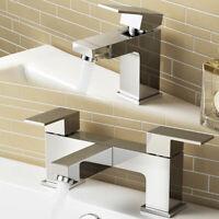 WATERFALL SQUARE CHROME BATHROOM TAPS SET - BASIN MONO & BATH FILLER MIXER TAP
