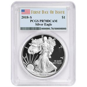 2018-S Proof $1 American Silver Eagle PCGS PR70DCAM FDOI Flag Label