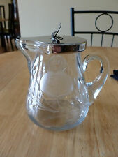 Vintage Etched Glass Syrup Pitcher. Great Condition! Quality Etching!
