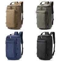 Mens Canvas Military Backpack Camping Bag Shoulder Travel Duffle Luggage Handbag