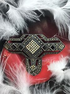 VINTAGE STERLING SILVER 925 MARCASITE & BLACK ONYX PIN - BROOCH 21.6GRAMS