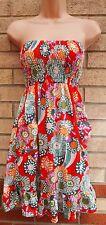 g heaven rot orange grün gold glitzernde bandeau kittel flare floral dress s