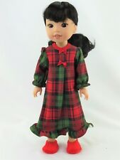 "Red and Green Plaid Nightgown Fits Wellie Wishers 14.5"" American Girl Clothes"
