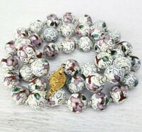 """White Cloisonne Pink Flower 12mm Beads Knotted Necklace Filgree Clasp 26"""""""