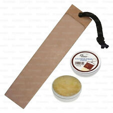 LEATHER PADDLE STROP SHARPENING STRAIGHT CUT THROAT SHAVING RAZOR KNIFE PASTE