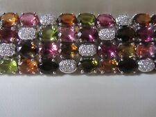 Tourmaline bracelet, 18k white gold, natural tourmaline, diamonds/6.6 insx1inch