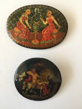 Russia Wood Lacquer Hand Painted Brooch Pins