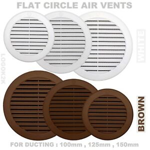"""Flat Circle Air Vent Grill Cover Round Ducting Ventilation Ø 100 125 150 4"""" 5"""" 6"""