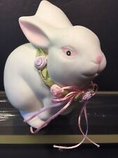 Department 56 Easter Bunny Rabbit With Flowers Porcelain Bisque Figurine 4 1/4""