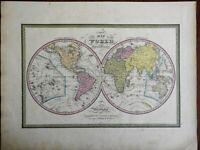World Map Hemispheres Pacific Islands Africa Asia Europe c. 1846-9 Mitchell map